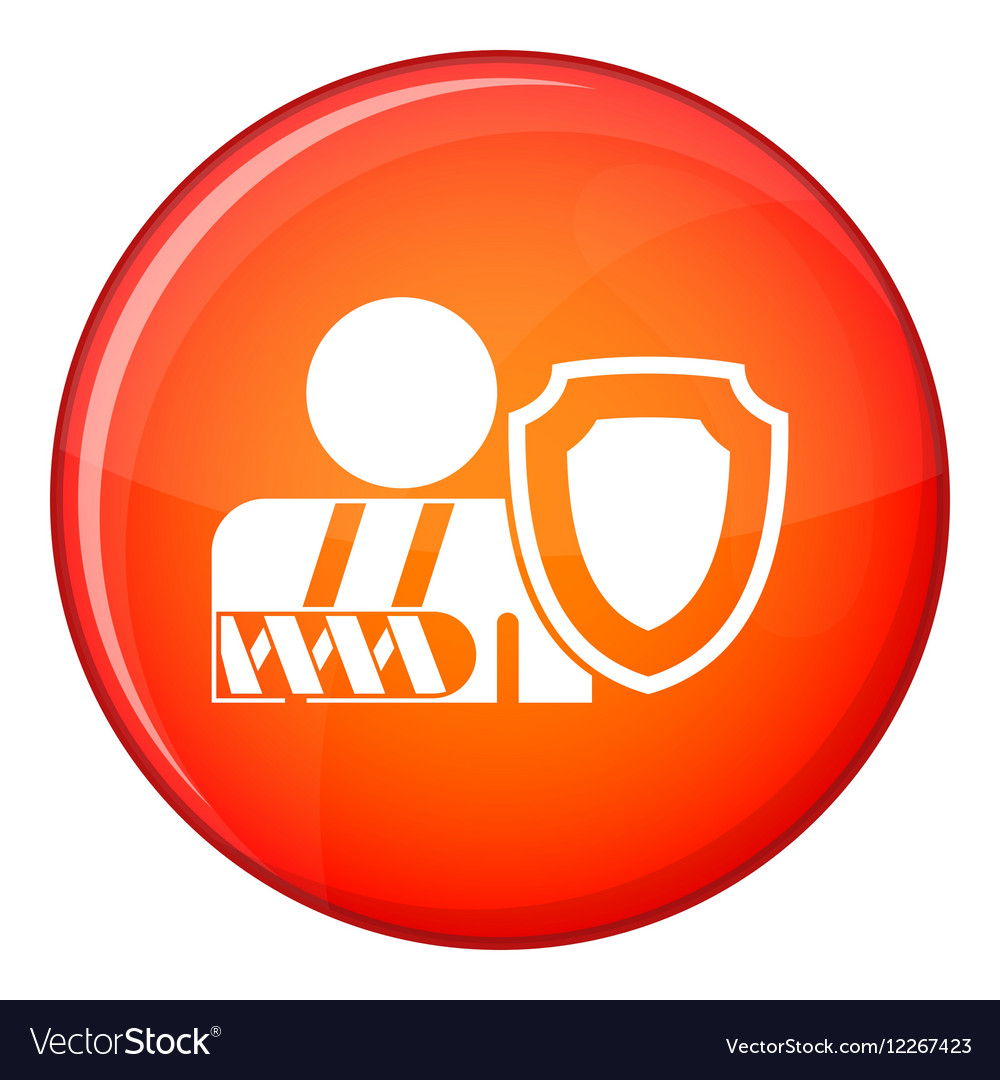 Oken arm and safety shield icon flat style