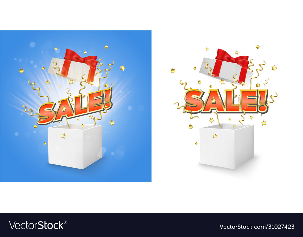 Sale gift box set concept for banner