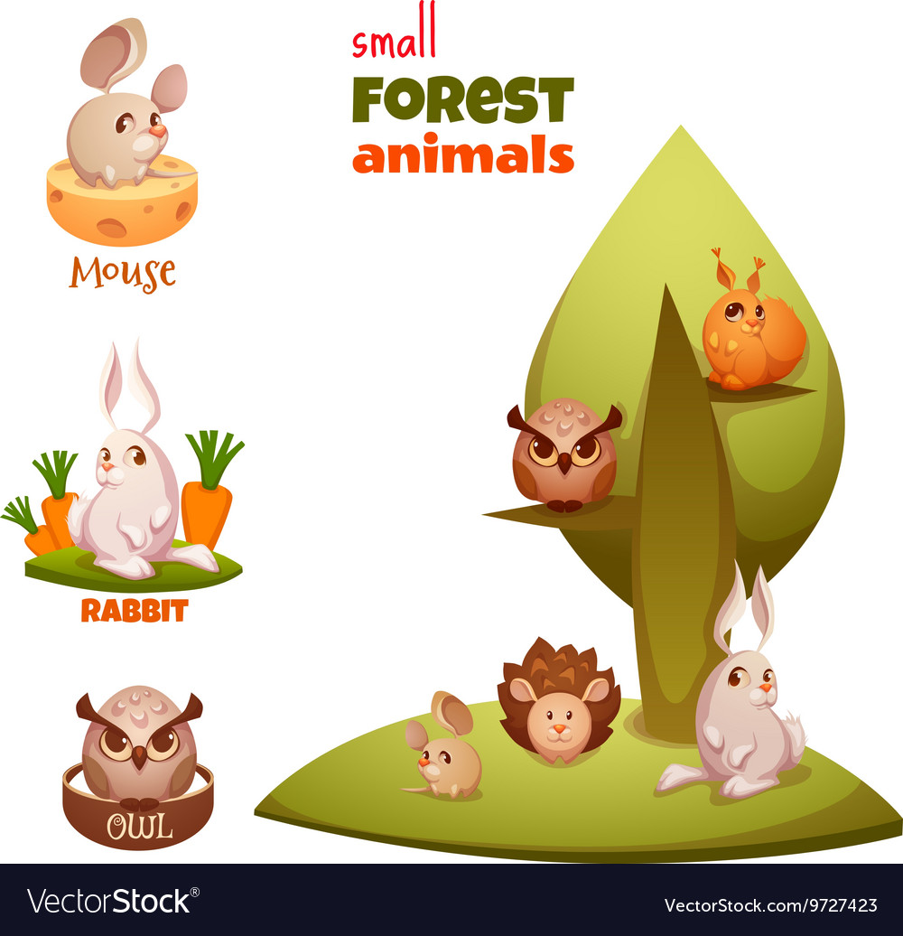 Set of small forest cute animals