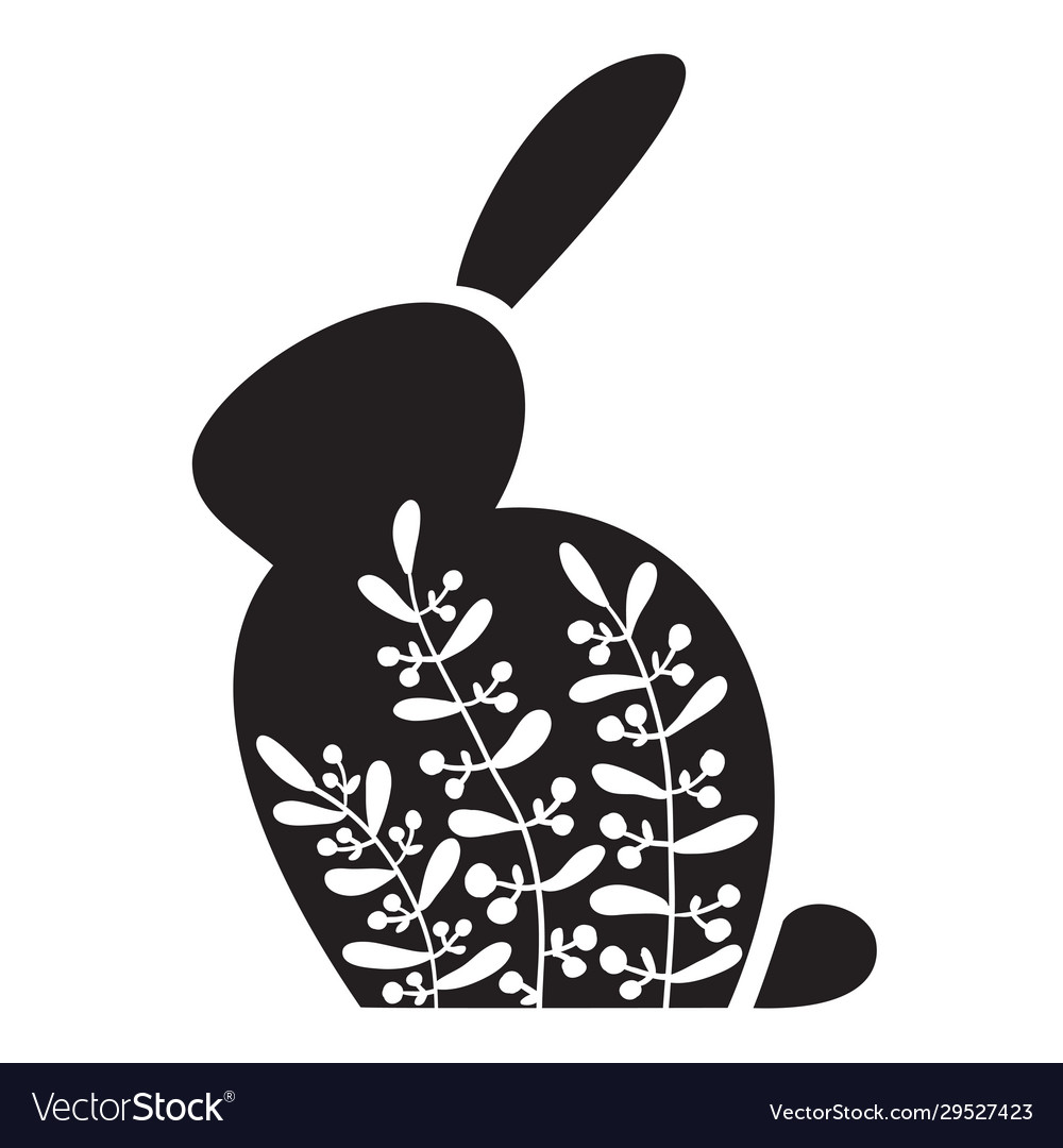 Silhouette an easter bunny with white flowers