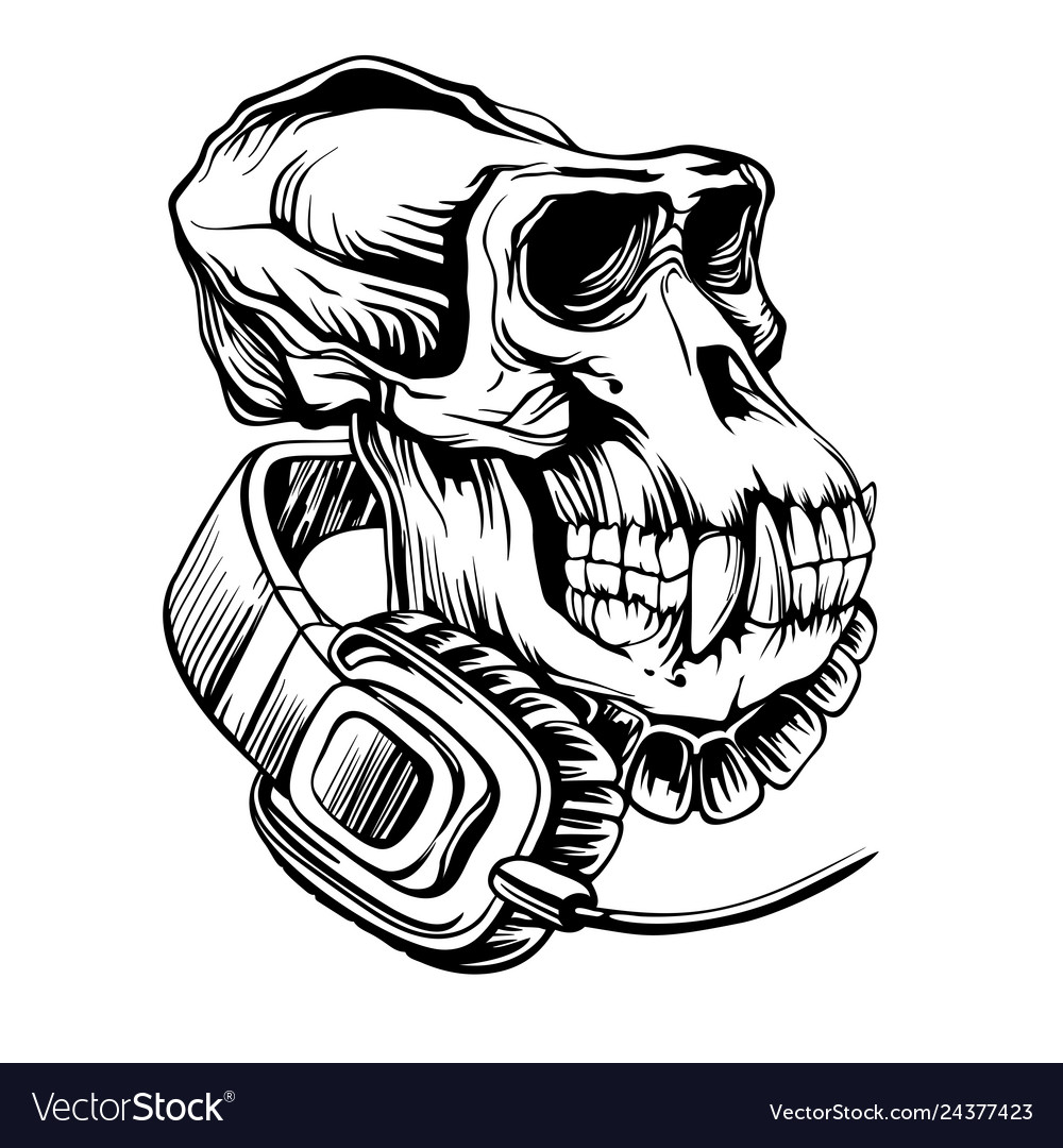 Skull a gorilla with headphones