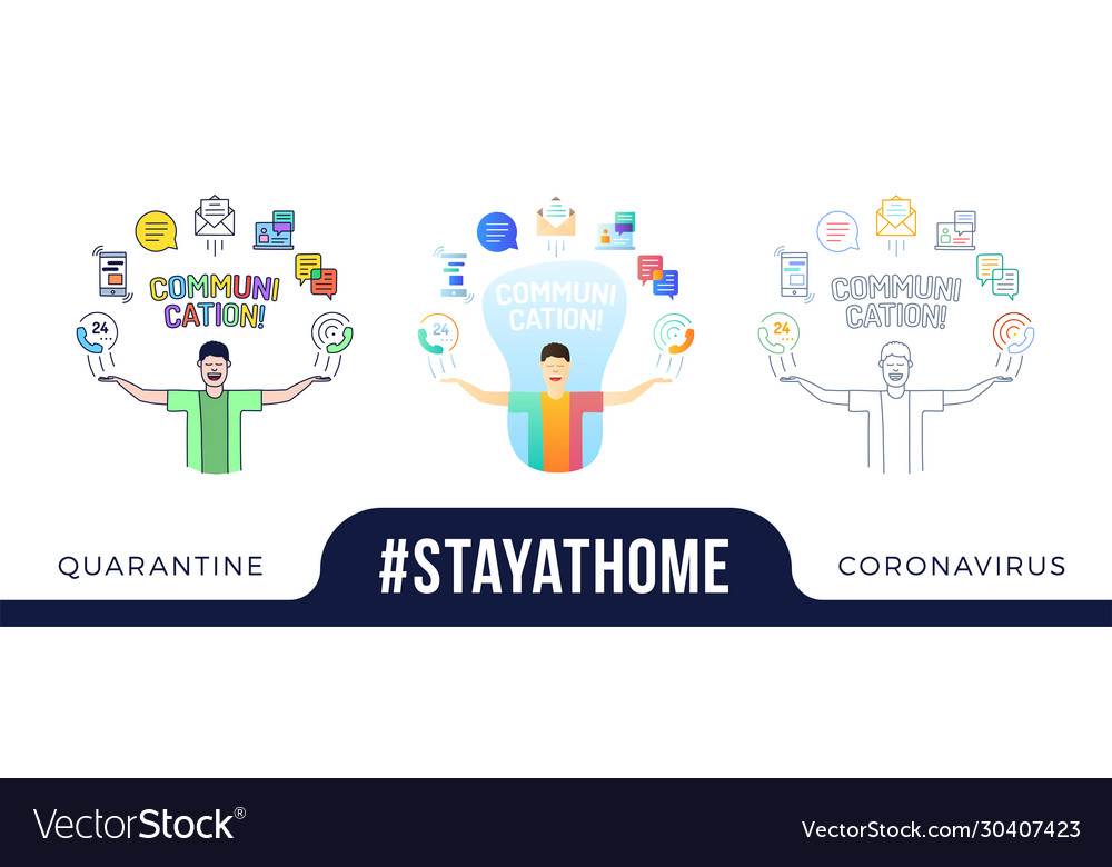 Stay at home concept character with his hands up