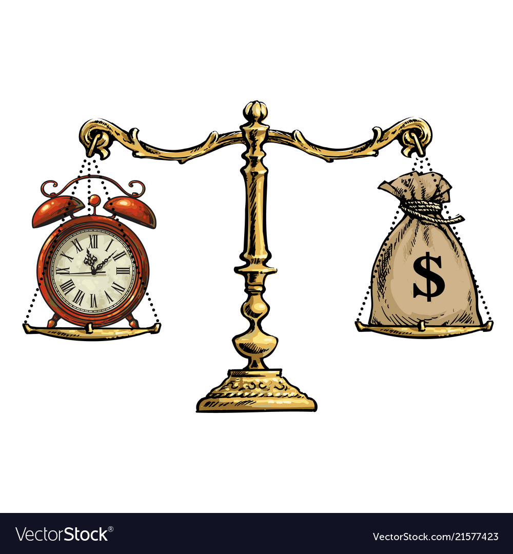 Time is money concept sack of dollars and pocket