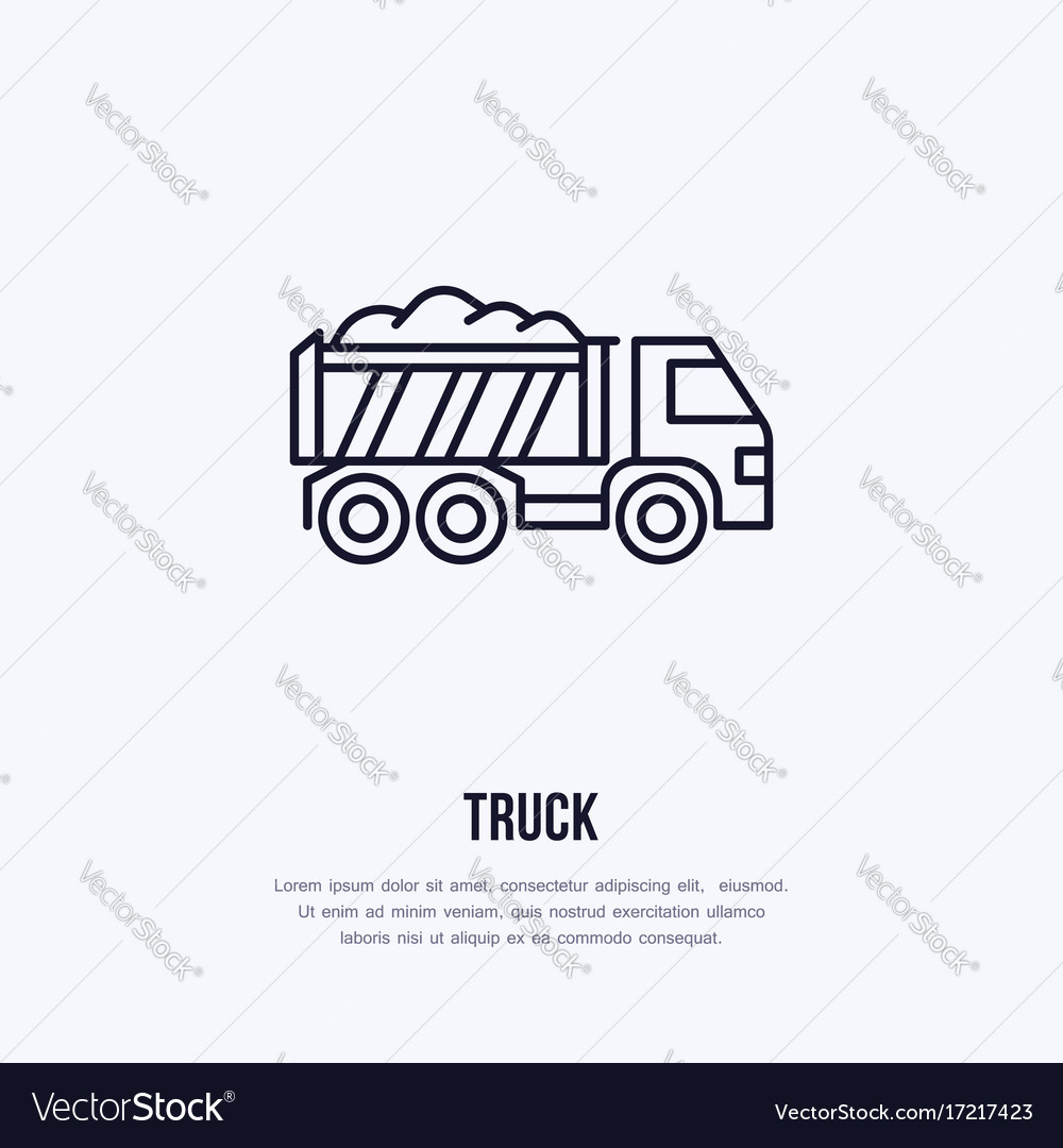 Truck flat line icon transportation logo vector image