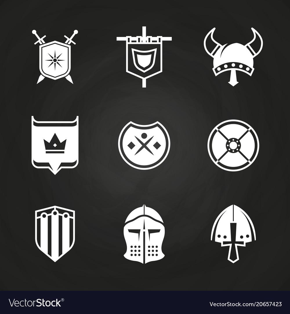 White silhouette viking knight helmets and shields