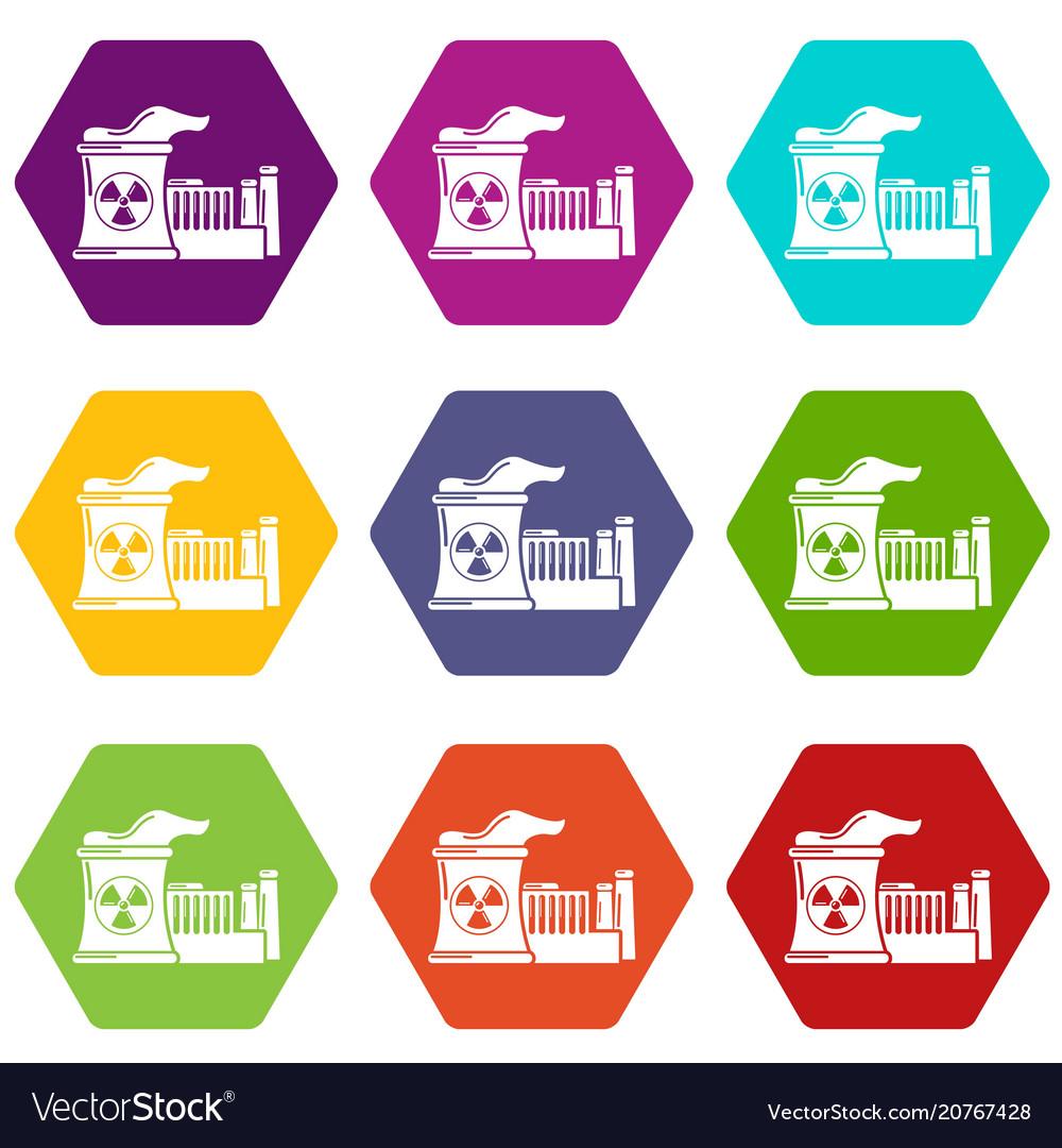Atomic reactor icons set 9