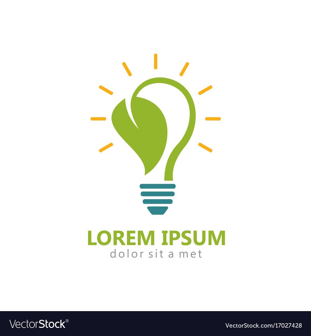 Bio energy leaf light bulb logo vector image