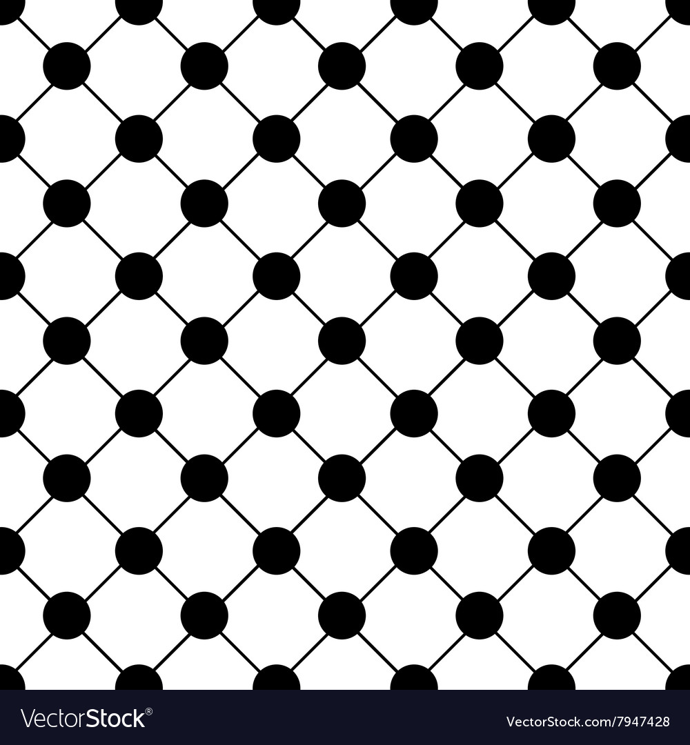Black Polka dot Chess Board Grid White