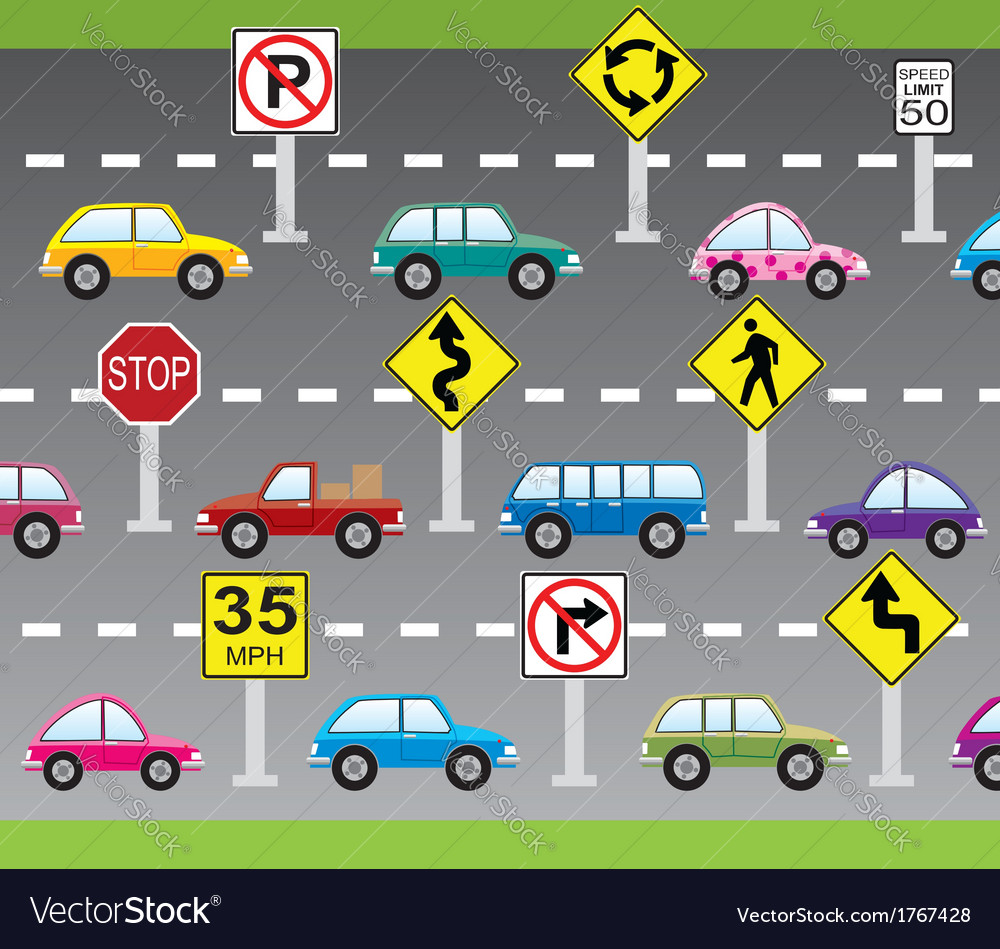 Cars and road signs