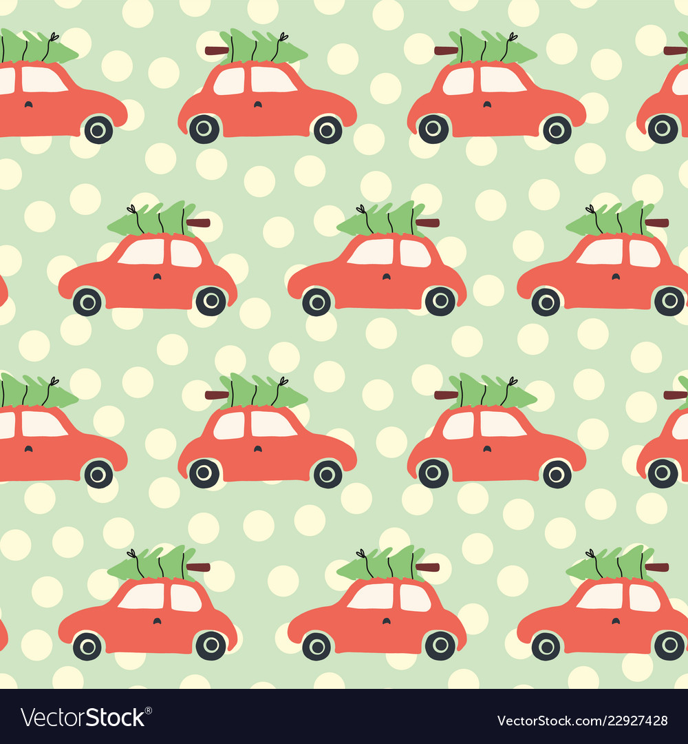 Christmas pattern with red car and tree