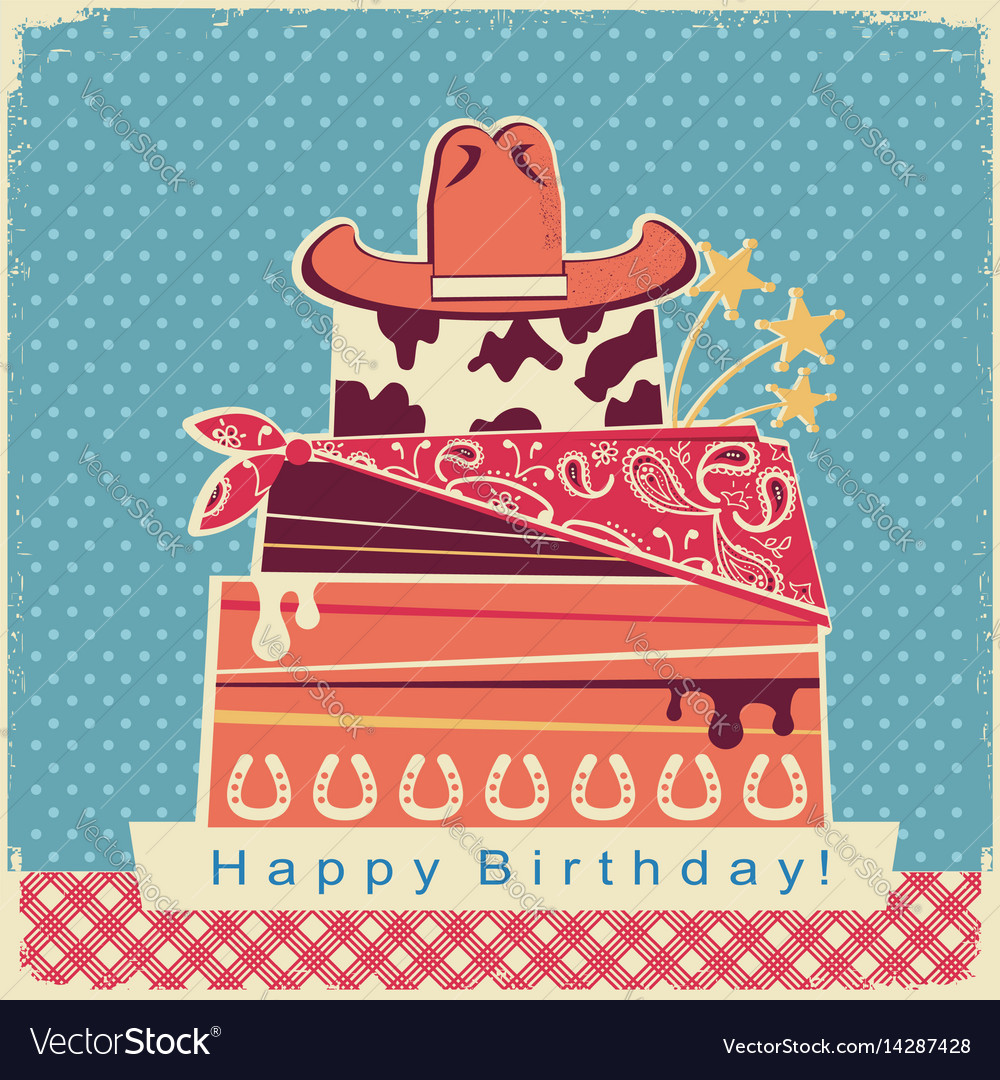 Cowboy happy birthday party card background with vector image