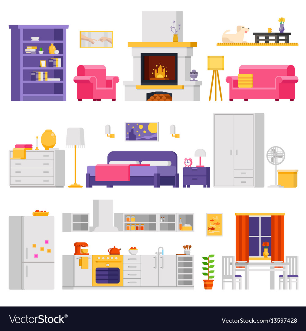 Cozy interior set of furniture and room vector image