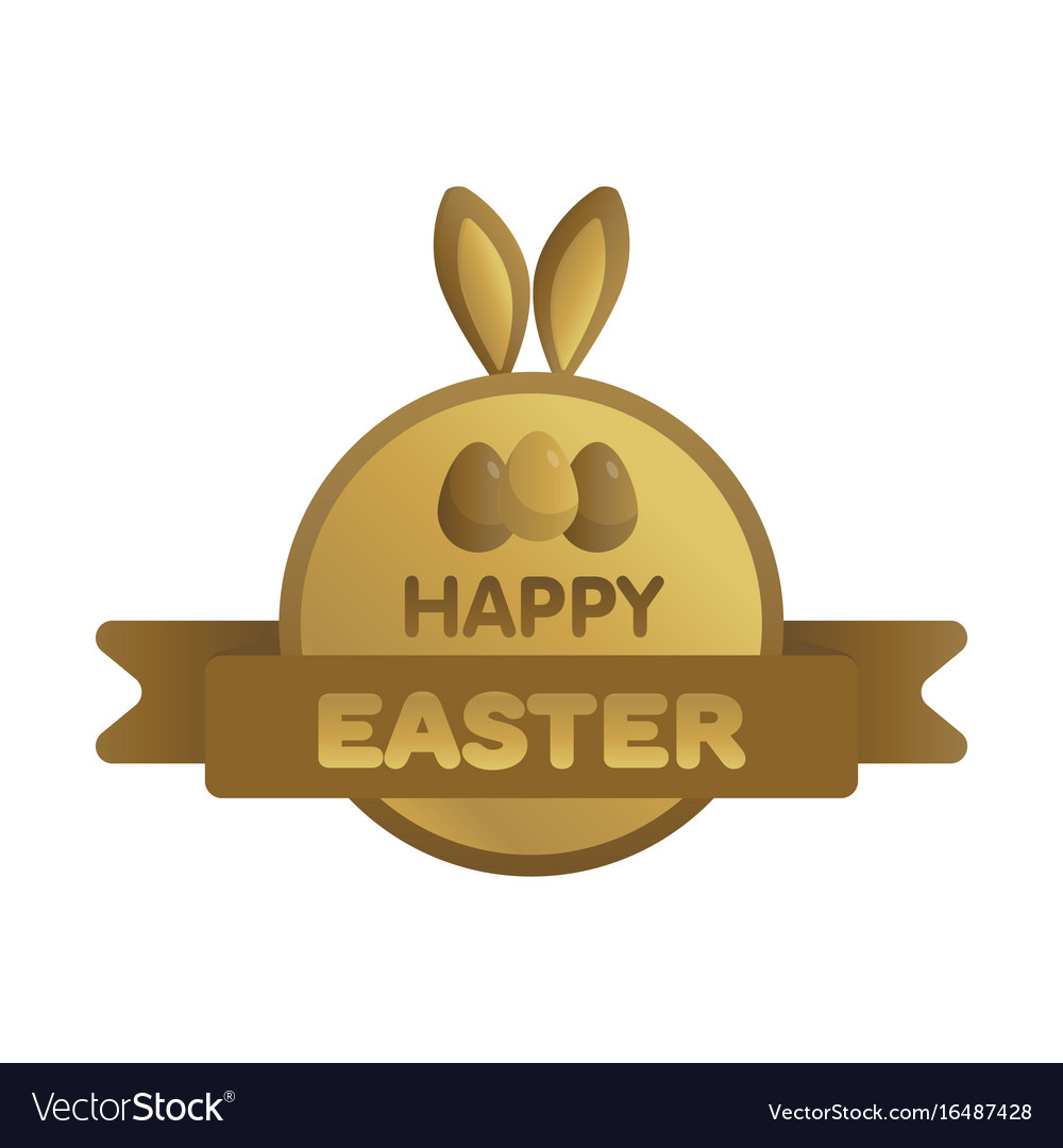 Easter gold label with ribbon bunny concept