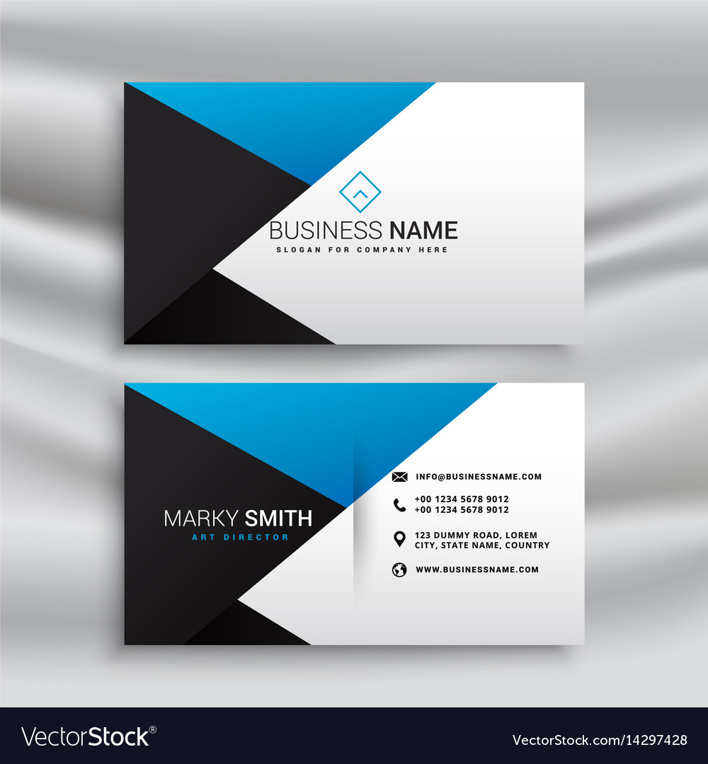 Elegant blue white and black modern business card vector image colourmoves