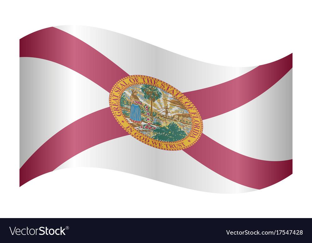 Flag of florida waving on white background