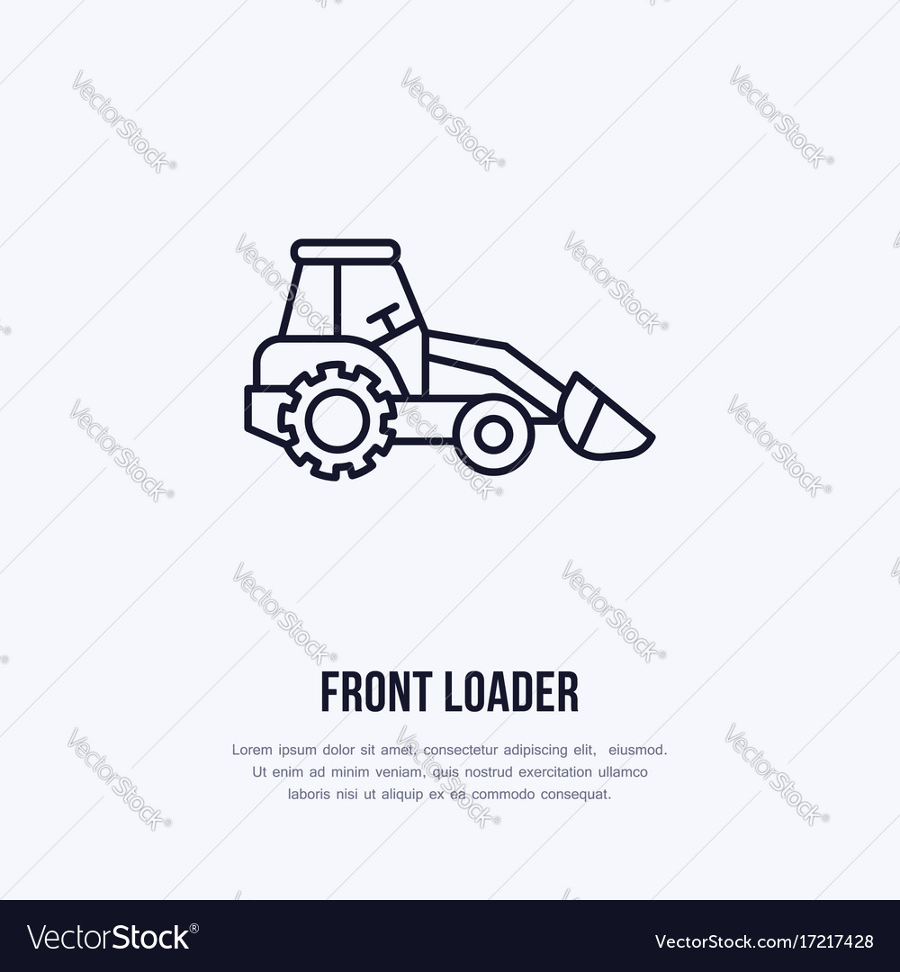 Front loader flat line icon transportation