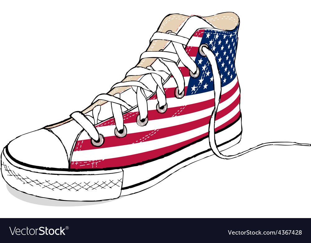 3fe8f7ad441fe2 Hand draw modern sport shoes with USA flag Vector Image