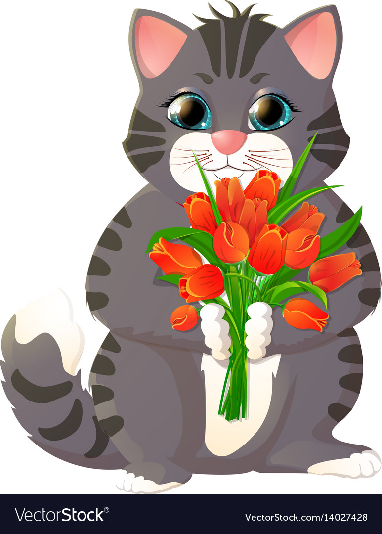 Kitten with a bouquet of flowers Royalty Free Vector Image