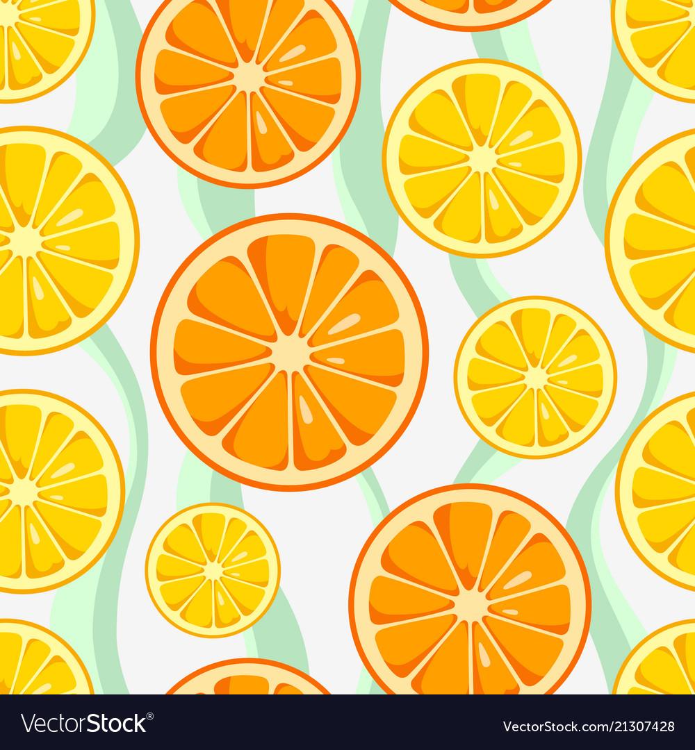 Lemon and orange slices seamless pattern