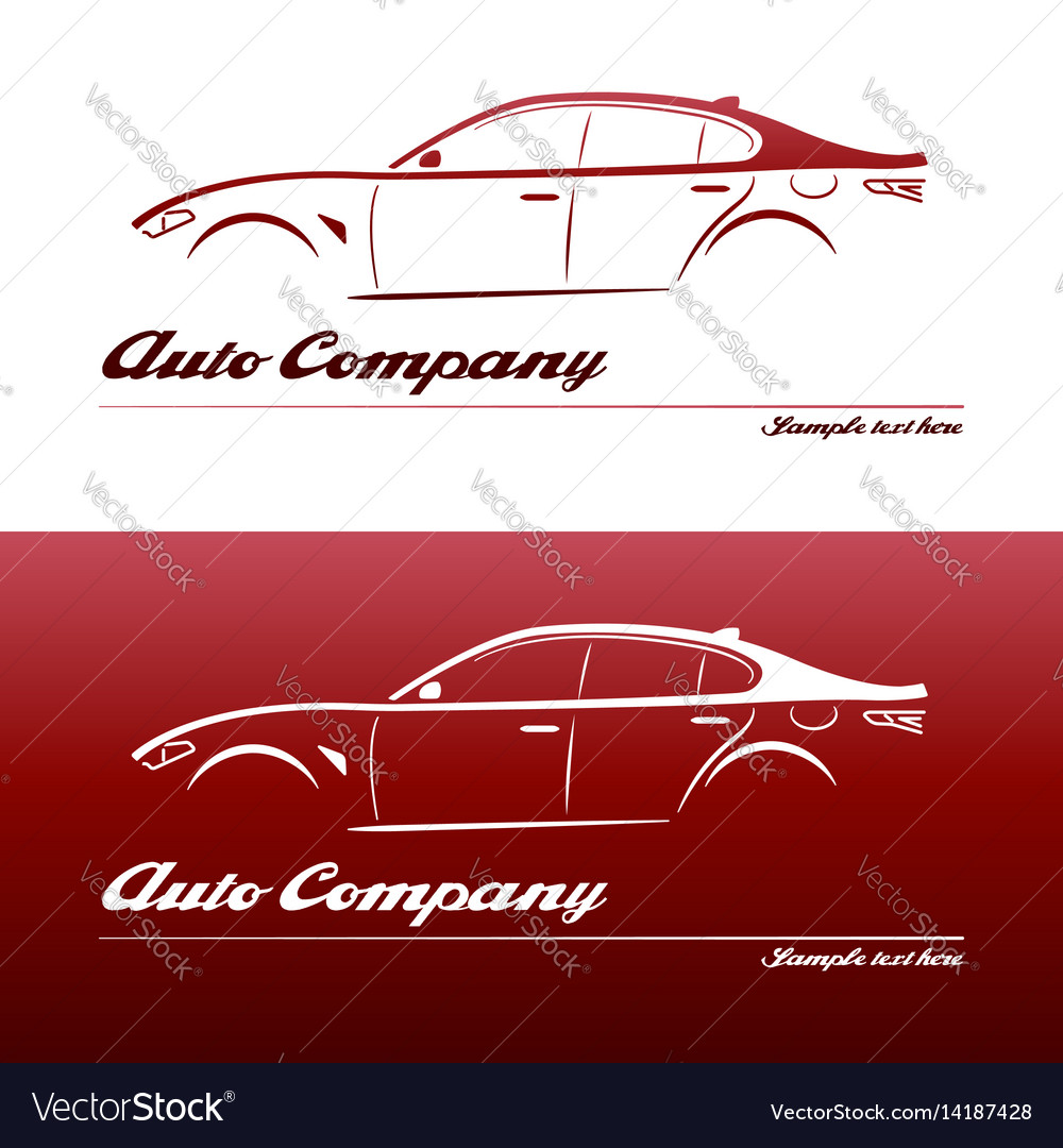 Logo car design element with business card Vector Image With Automotive Business Card Templates
