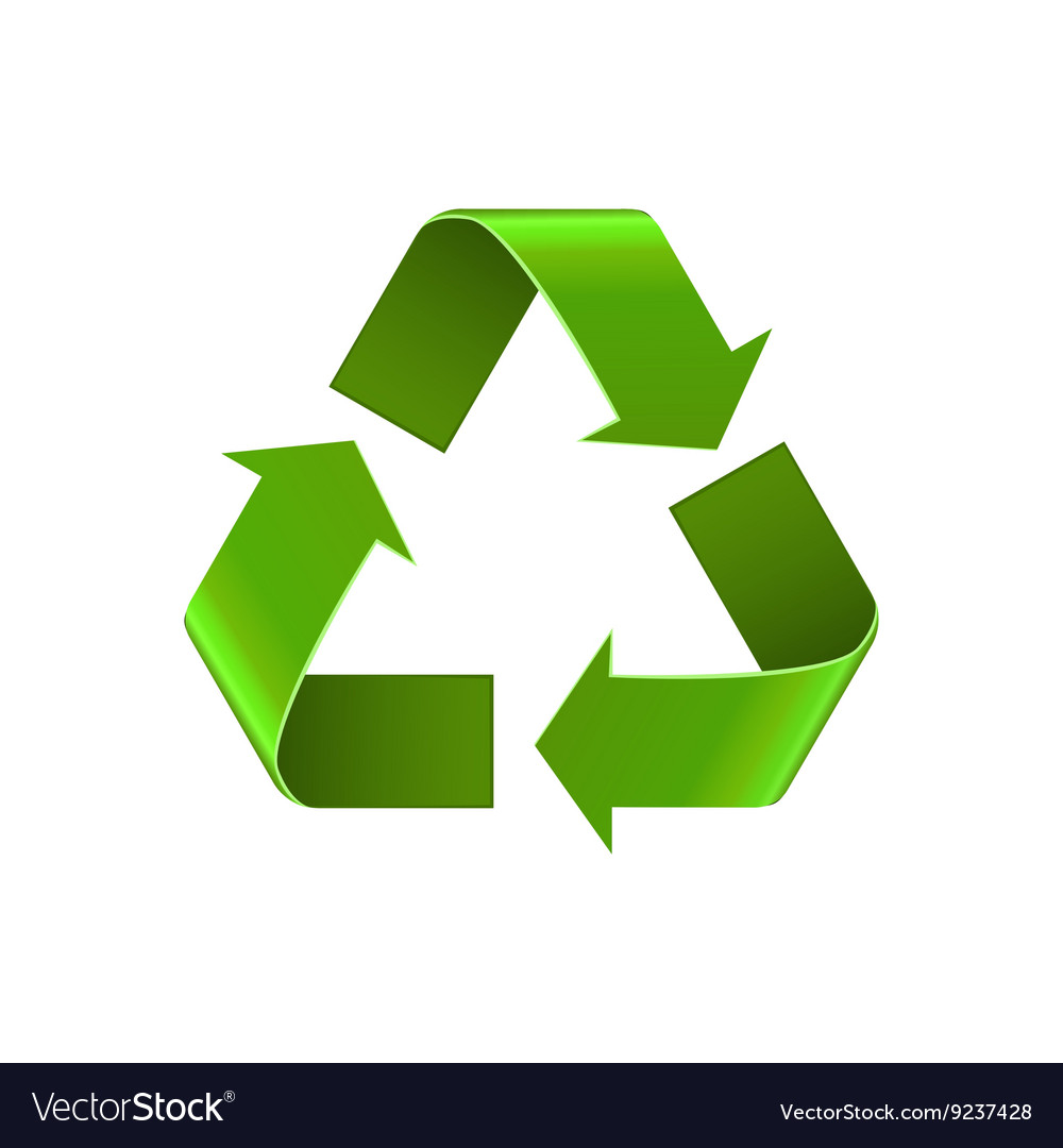 Recycle symbol isolated on white green arrows vector image