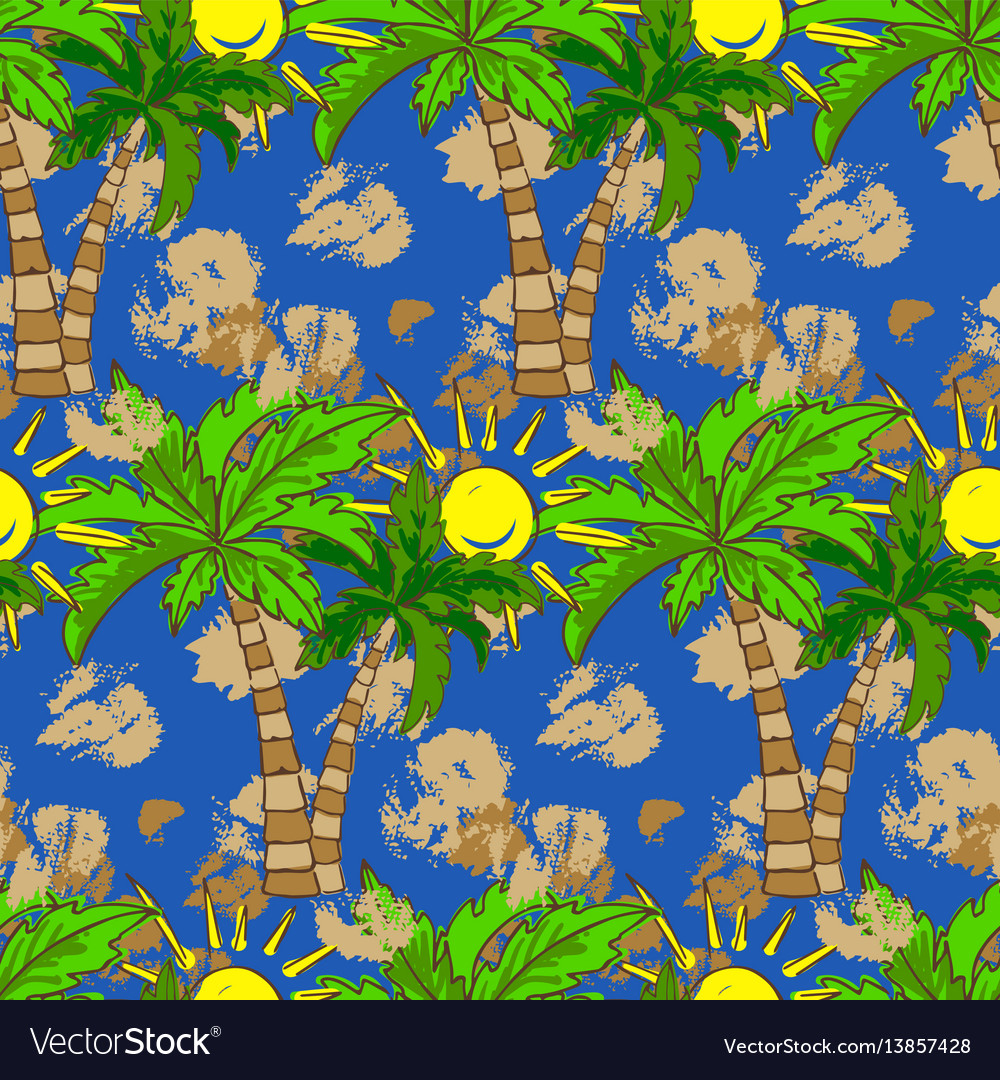 Seamless pattern with palm trees summer print