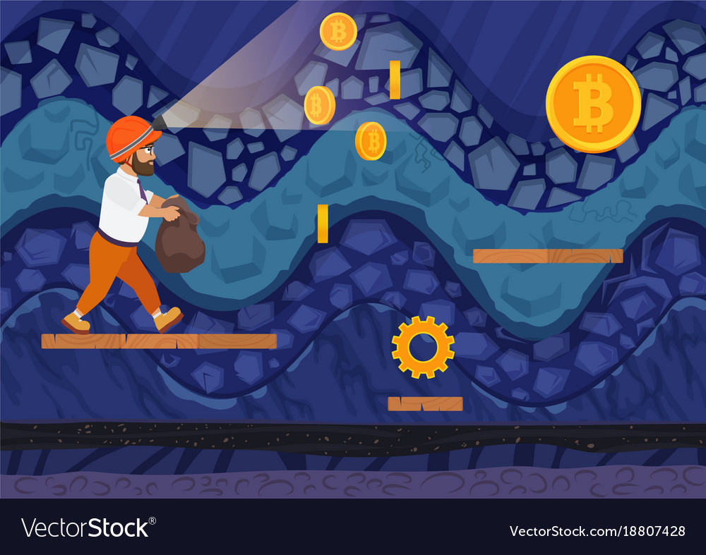 Side view man walking with bag for bitcoins in