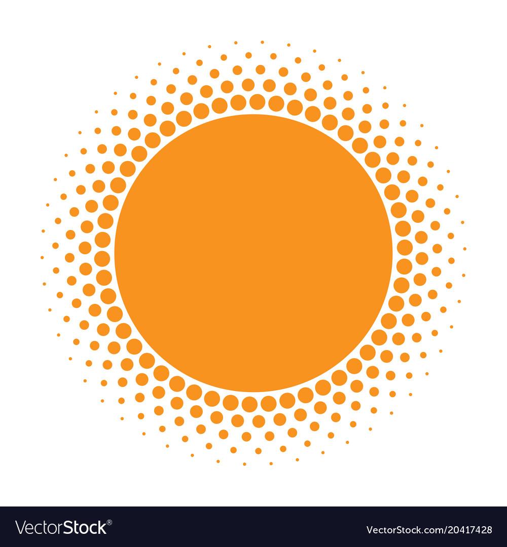 Sun icon halftone orange circle