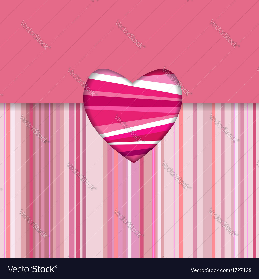 Valentine striped card horizontal