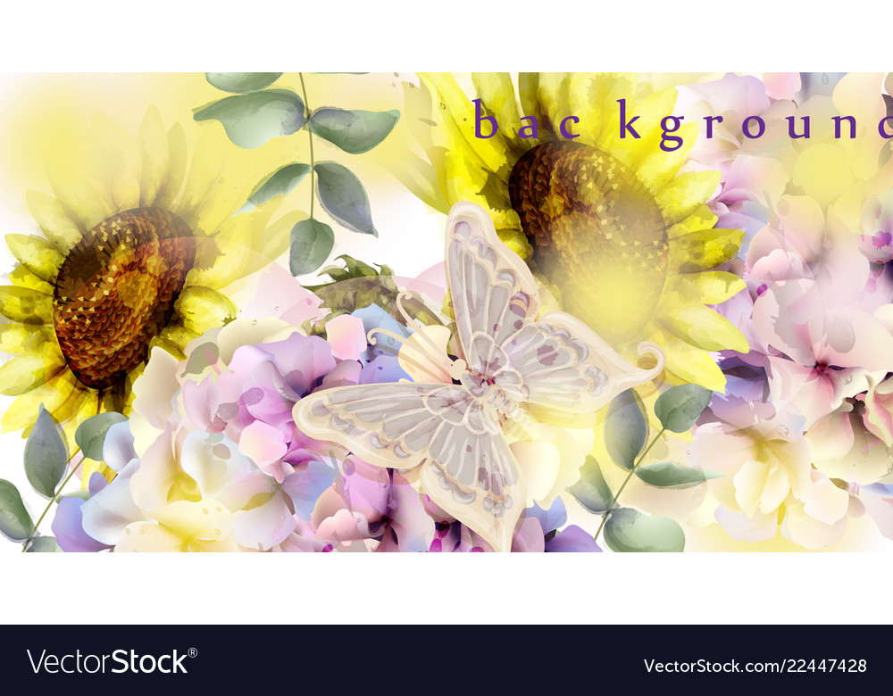 Watercolor floral background sunflower and