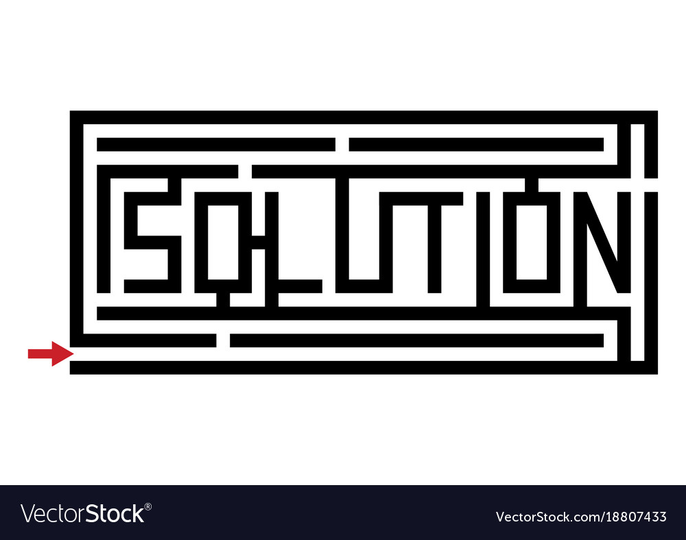 A maze with the word solution