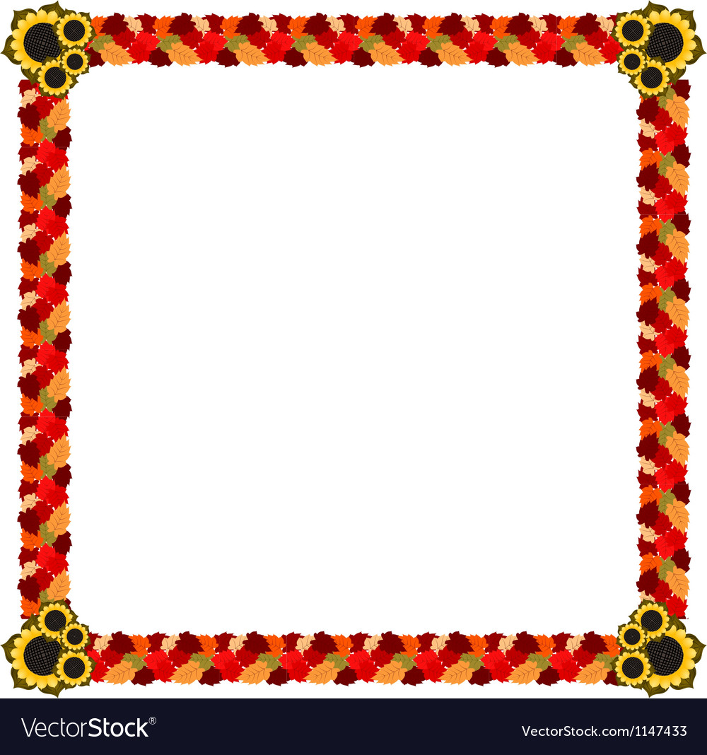 Abstract frame of autumn leaves and flowers vector image