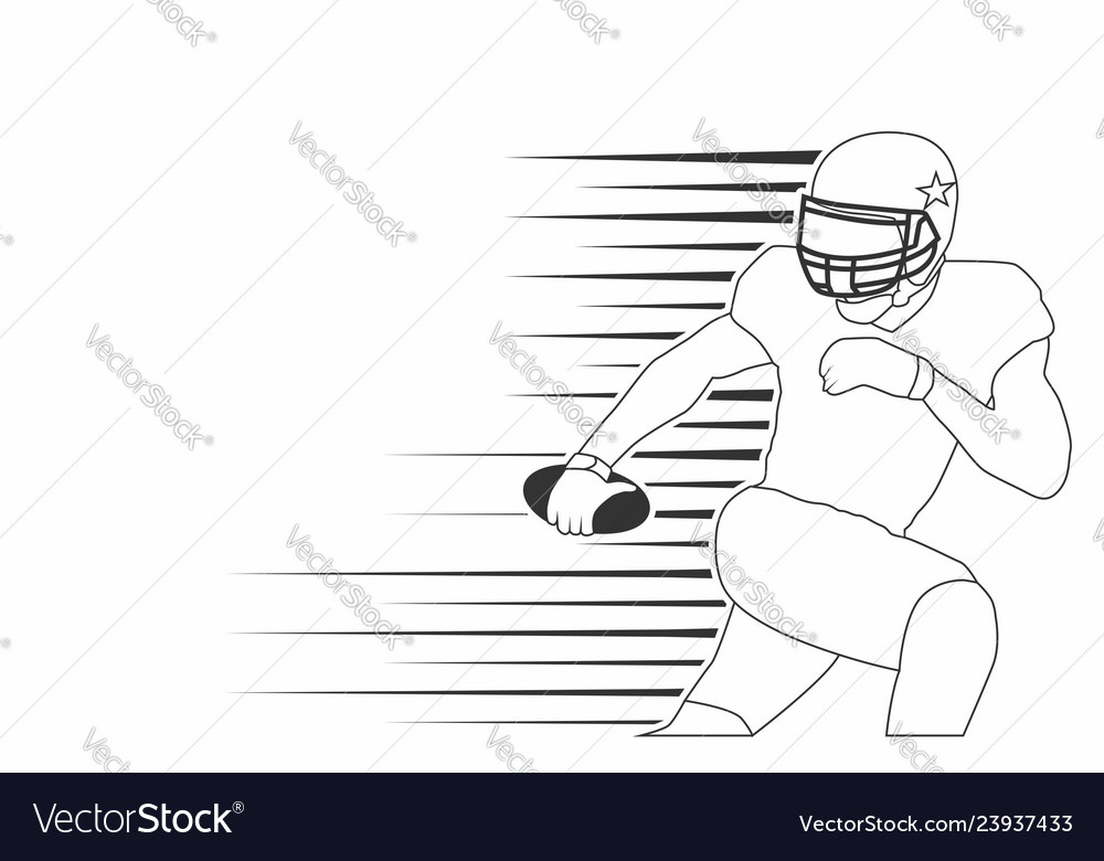 American footbal player line art isolated