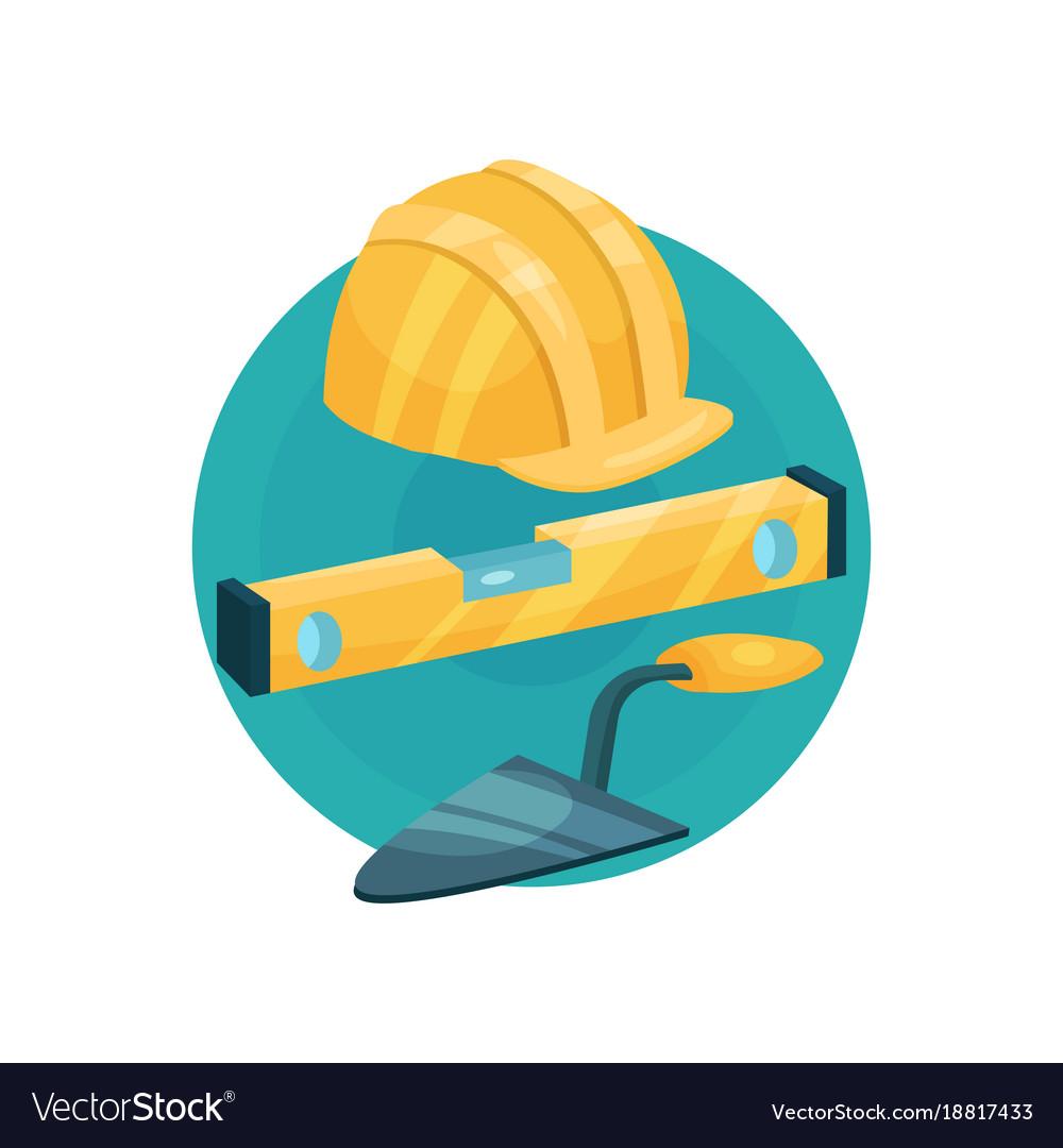 Builder icon construction tools cartoon