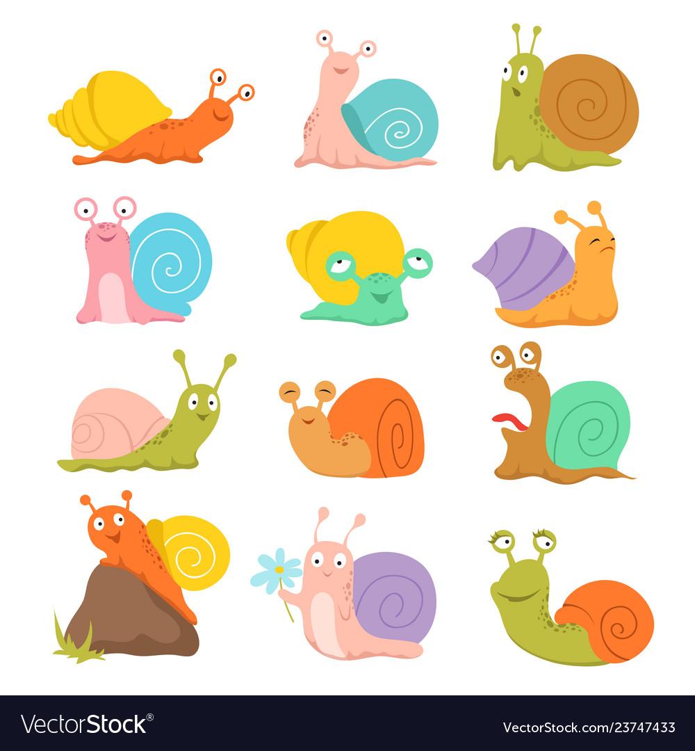 Cartoon snail cute slug mollusk with shell and