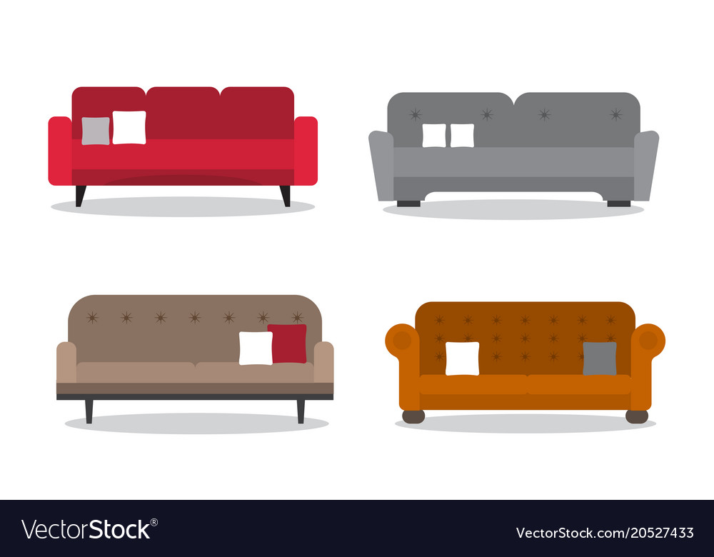 Collection Of Comfortable Sofa Models Royalty Free Vector