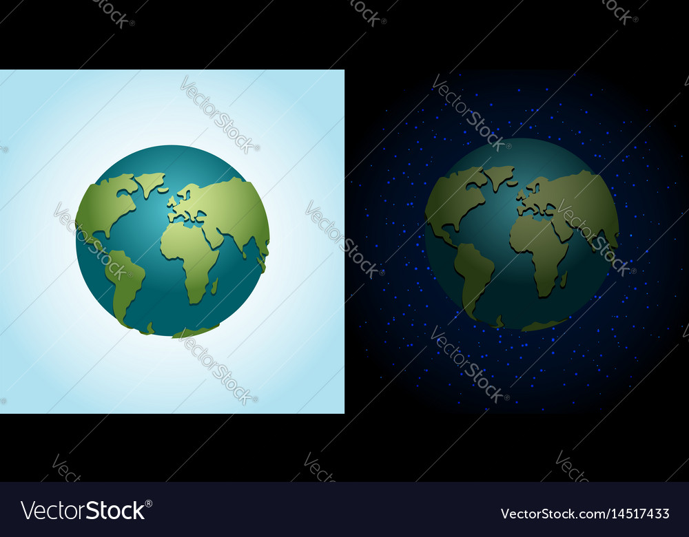Earth night and day set nighttime planet in space vector image