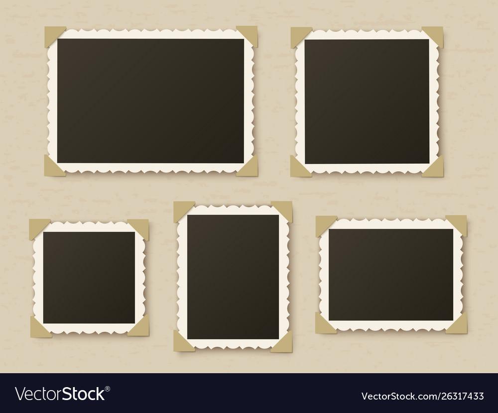 Retro Photo Frames Vintage Paper Picture Frame Vector Image