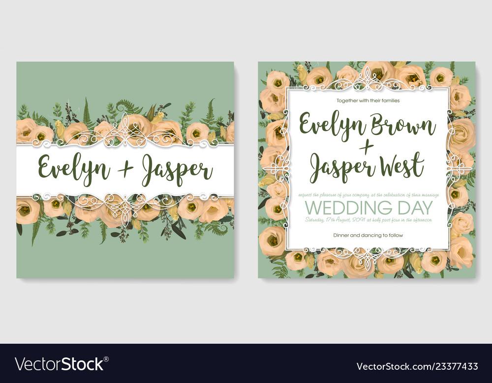 Set for wedding invitation greeting card save