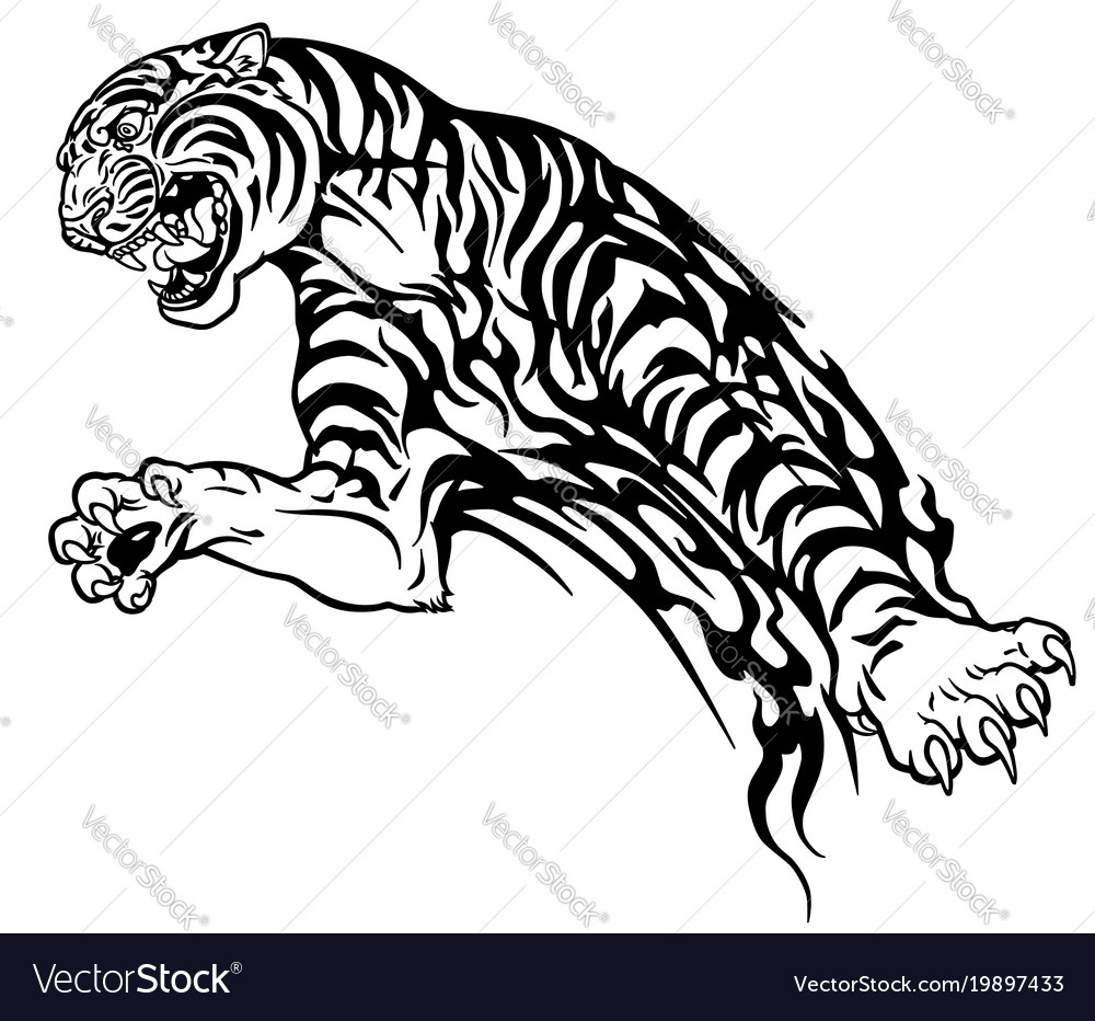 Tiger tribal black and white