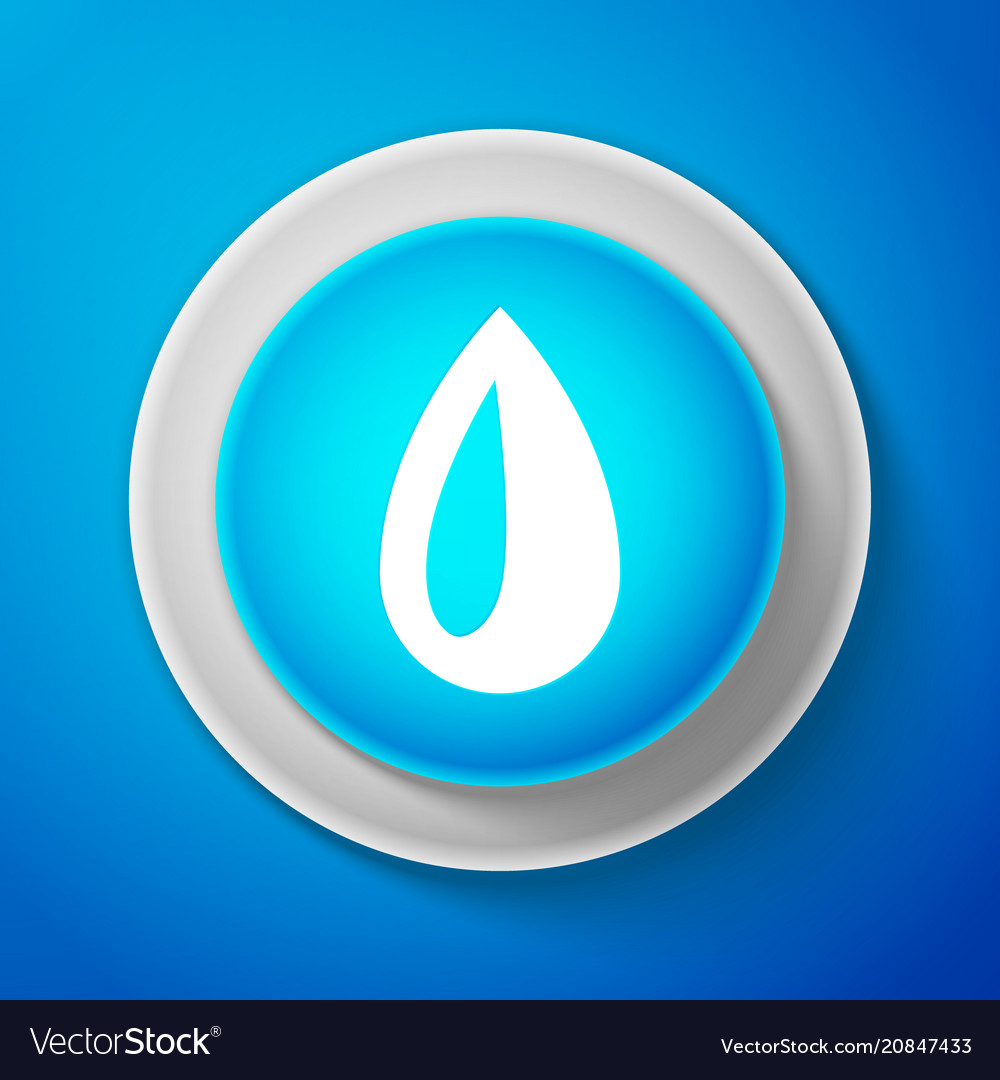 White drop icon isolated on blue background