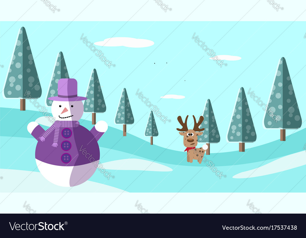 A hand drawing winter scene with deer and snowman