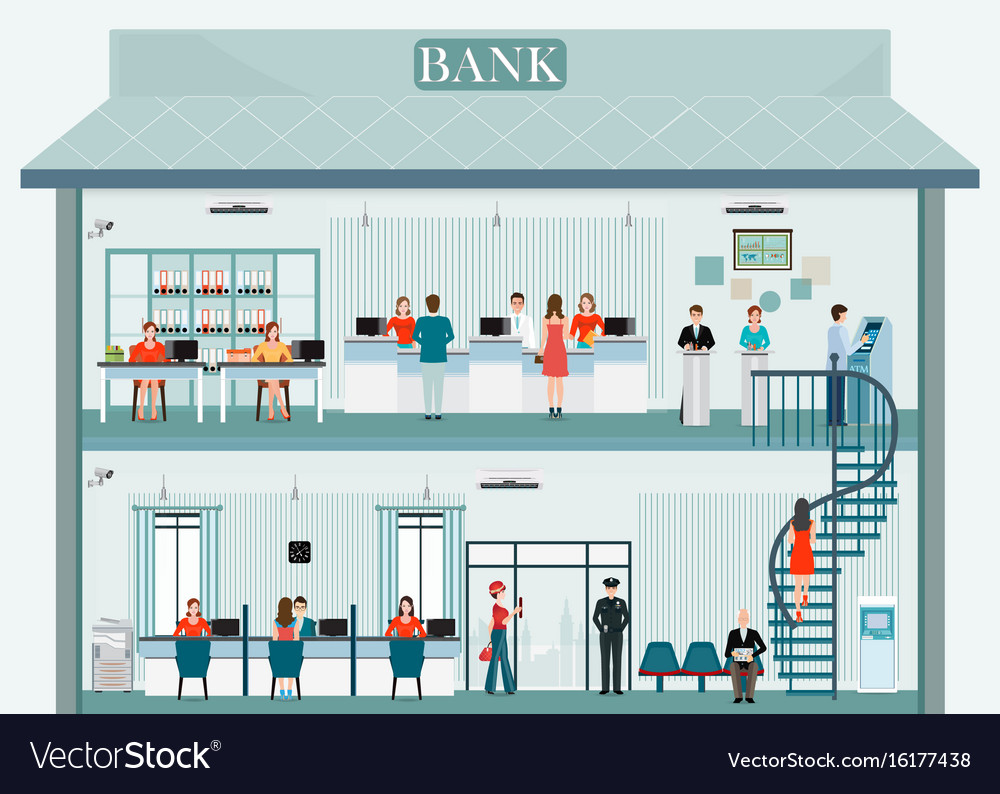 Bank building exterior and interior with counter