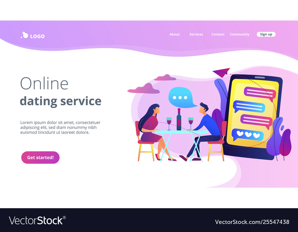 Blind date concept landing page