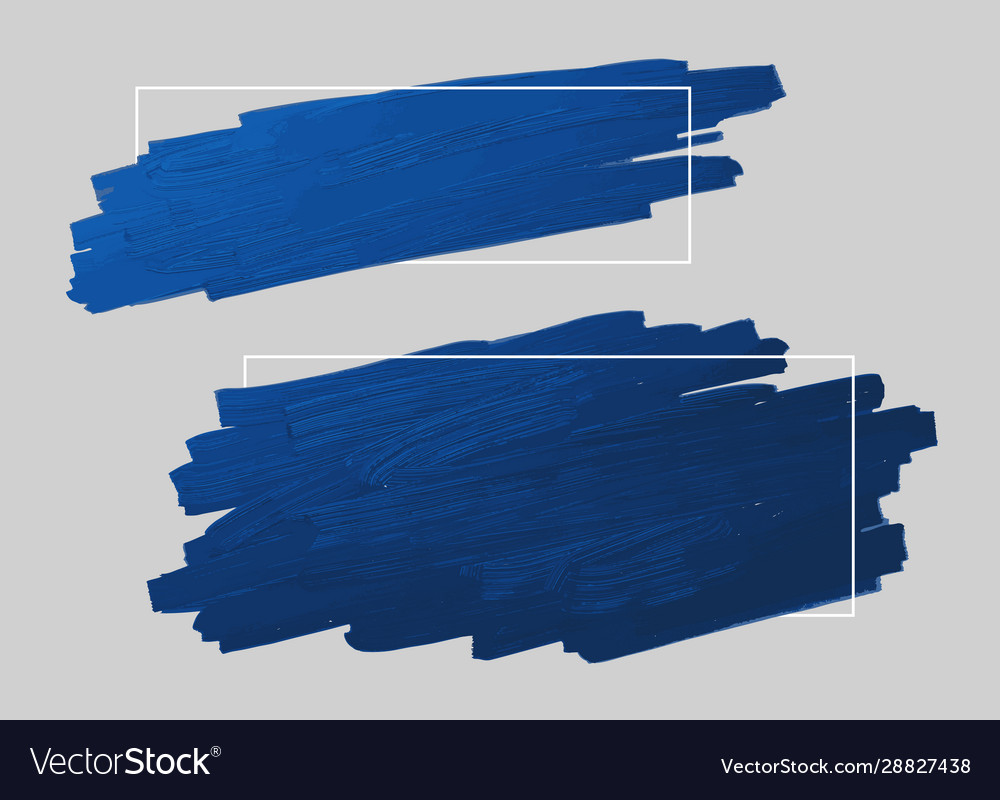 Blue brush stroke and line frame with copy space