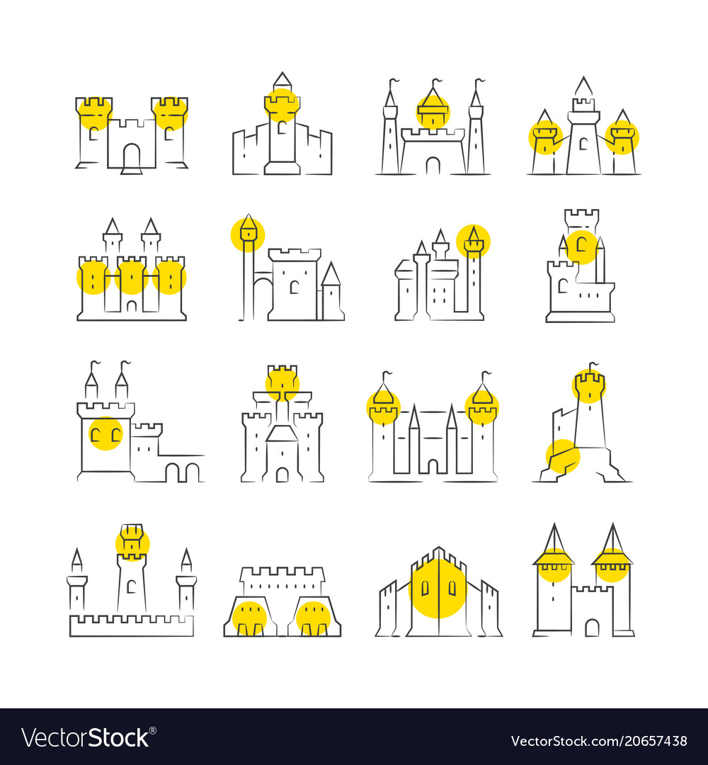 Castles and bastions line icons