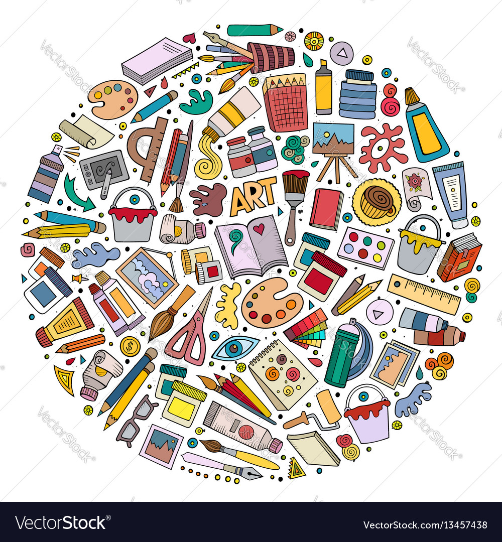 Colorful set of art cartoon doodle objects vector image