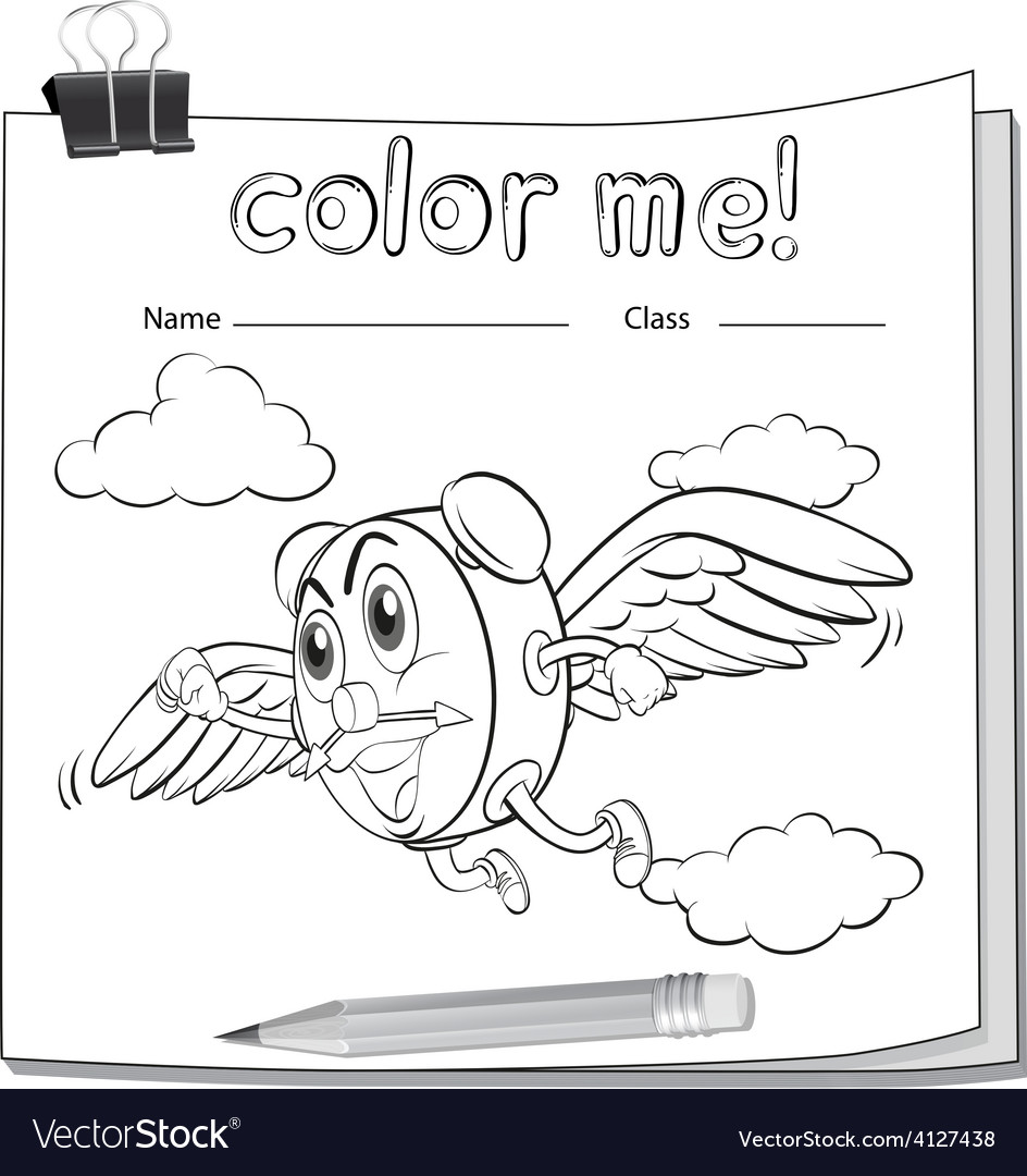 Coloring worksheet with a clock and a pencil