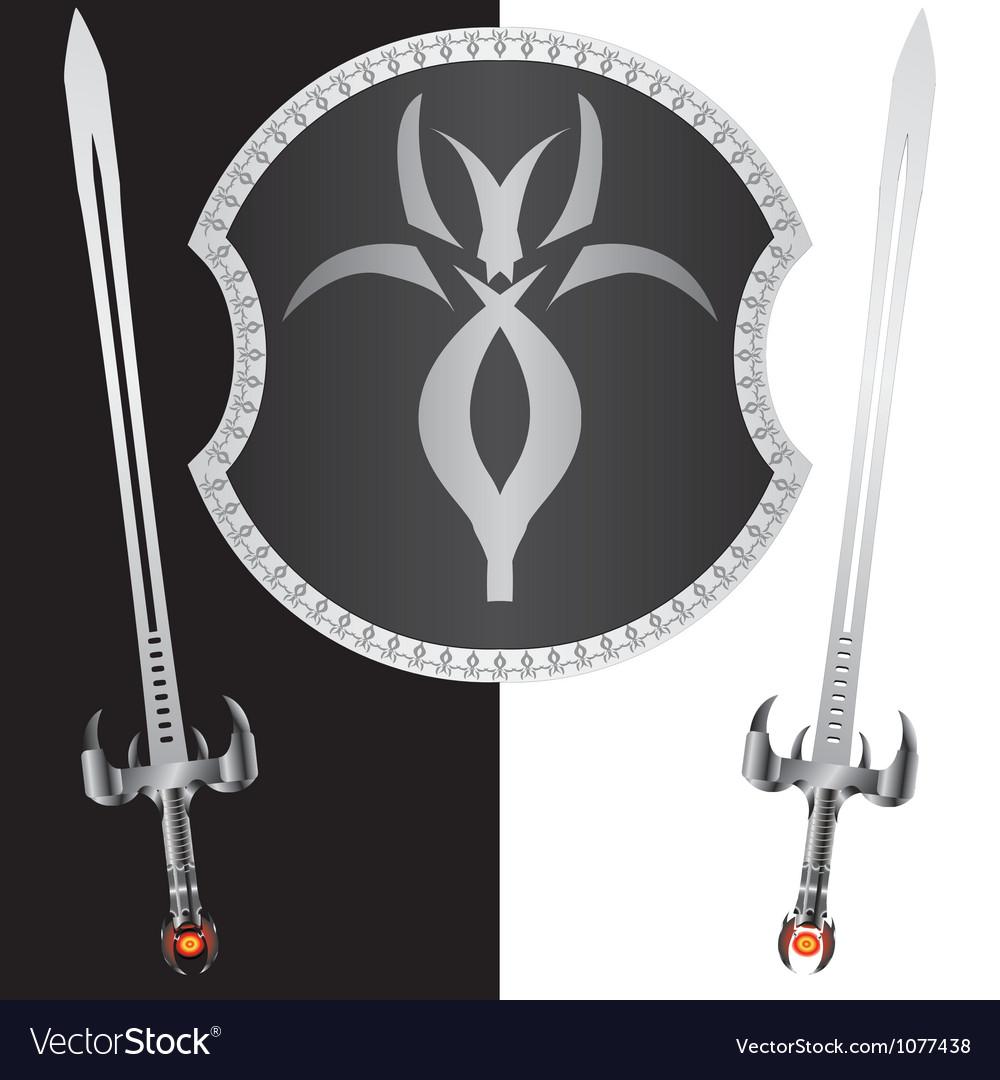 Fantasy shield and swordssecond variant vector image