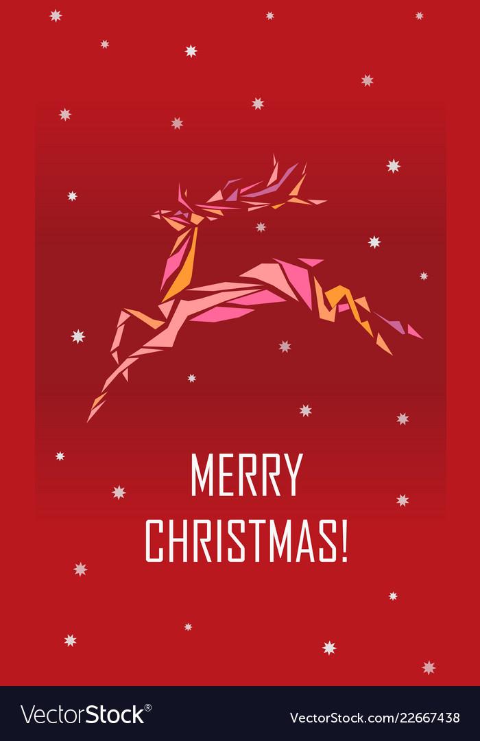 Geometric polygonal deer merry christmas greeting